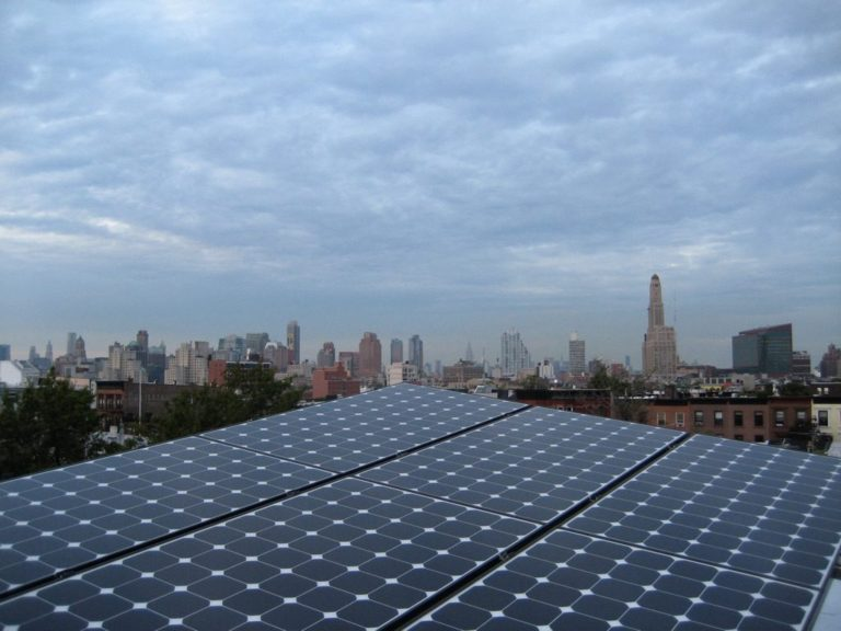 Solar Panels With NYC Skyline