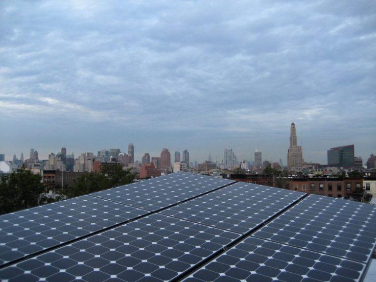 Solar Panels With NYC Skyline