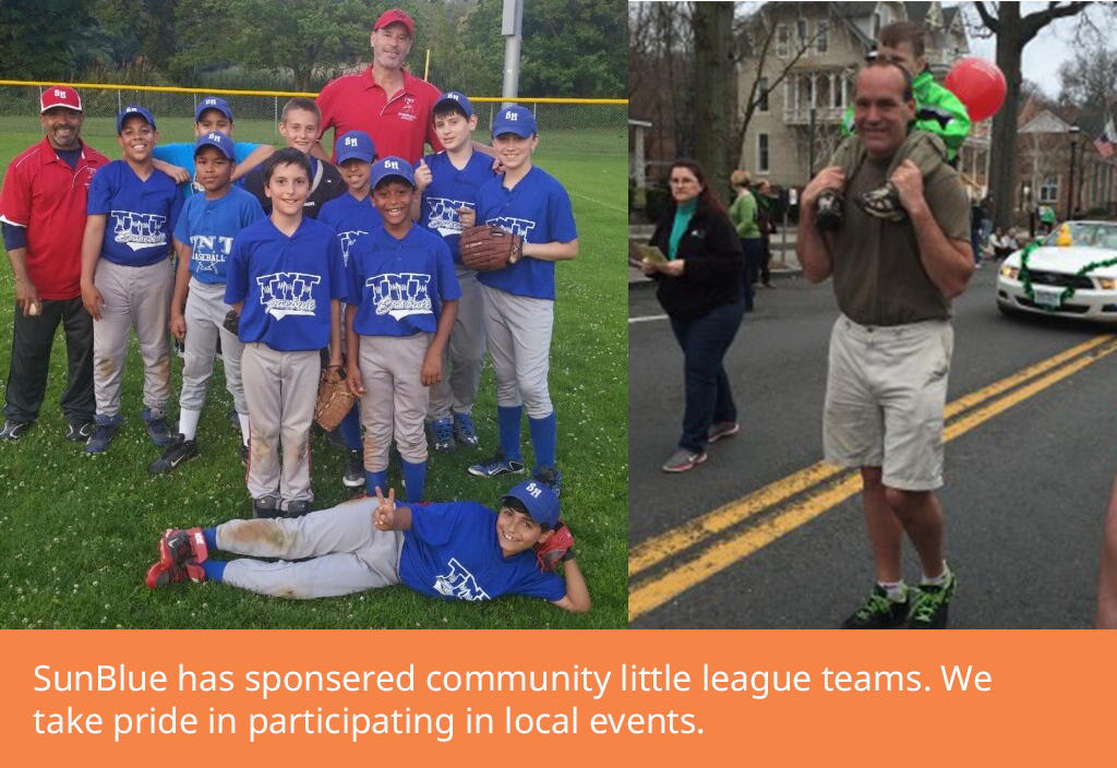 Little league team & man walking with child on shoulders